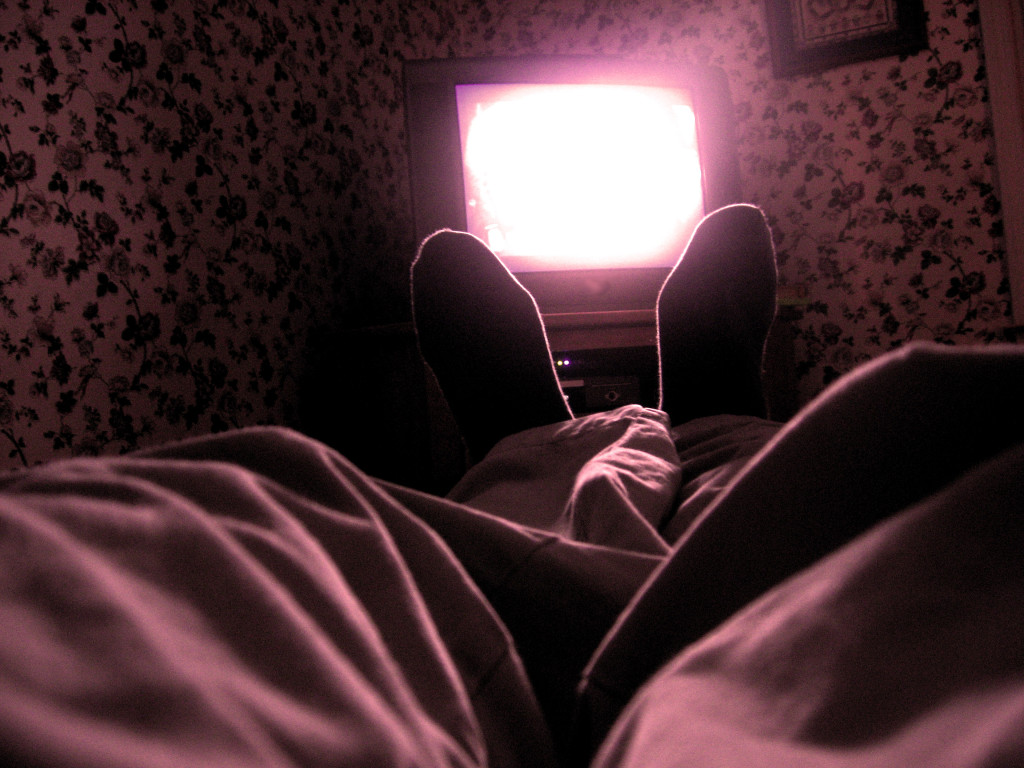 Feet in front of a TV