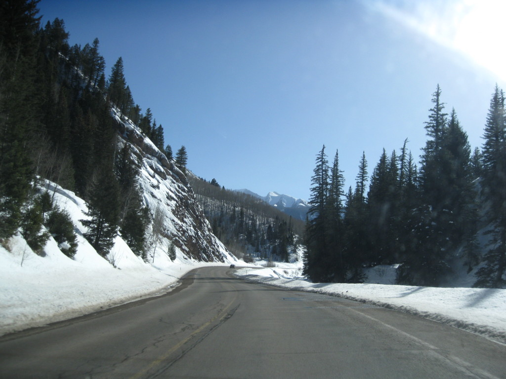 mountain road winter