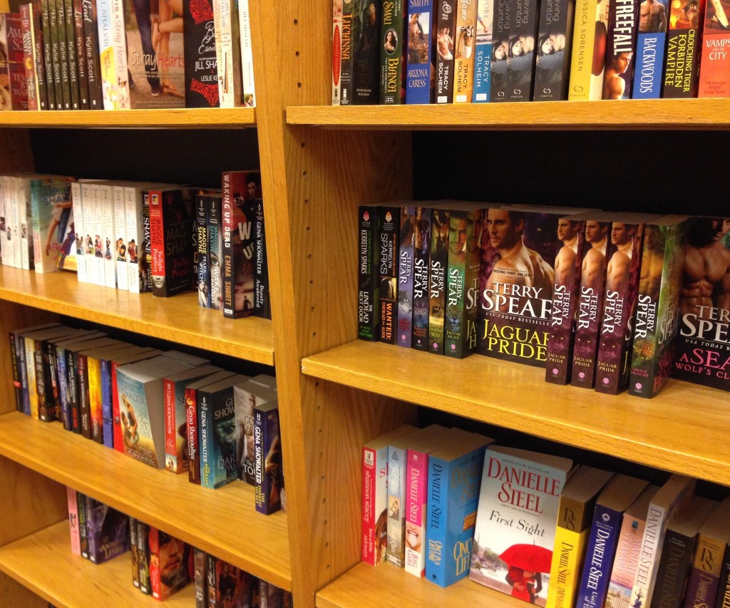 shelves of romance novels