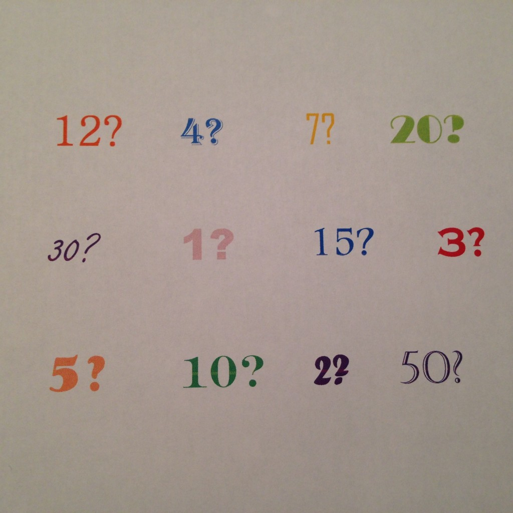 numbers and question marks