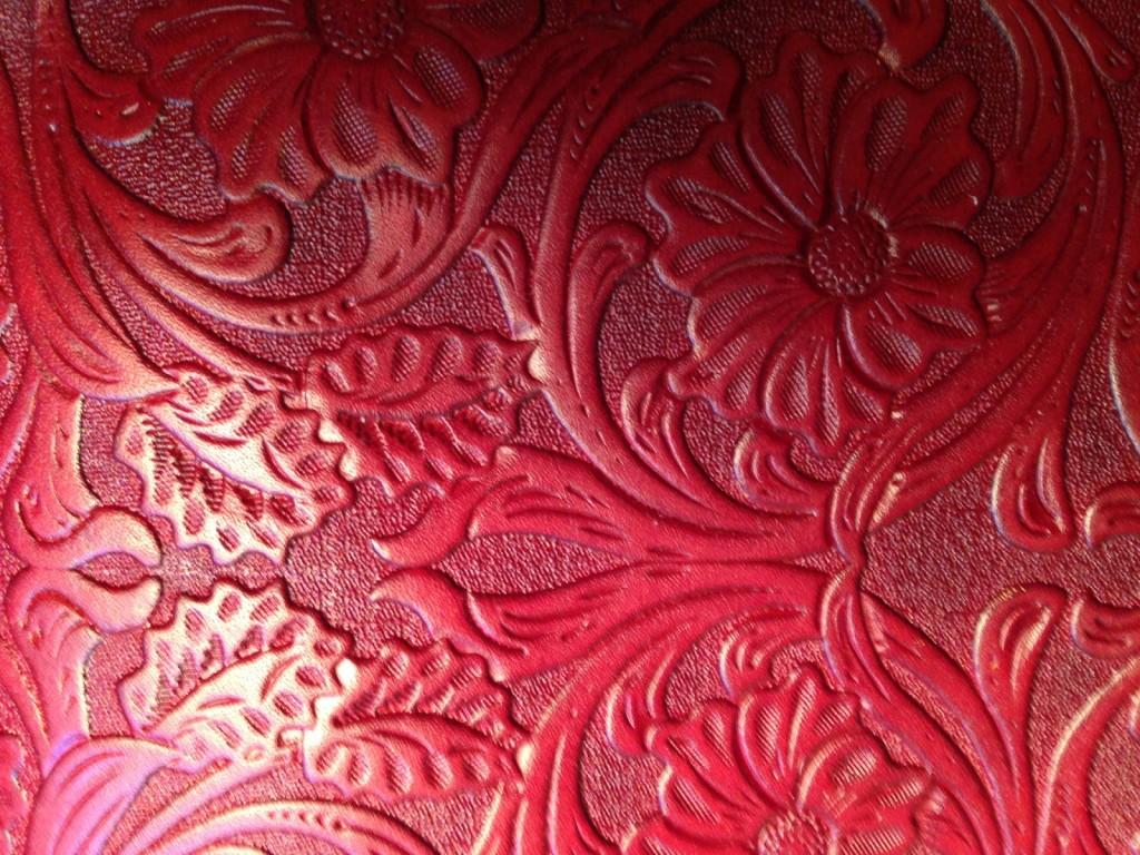 red tooled leather