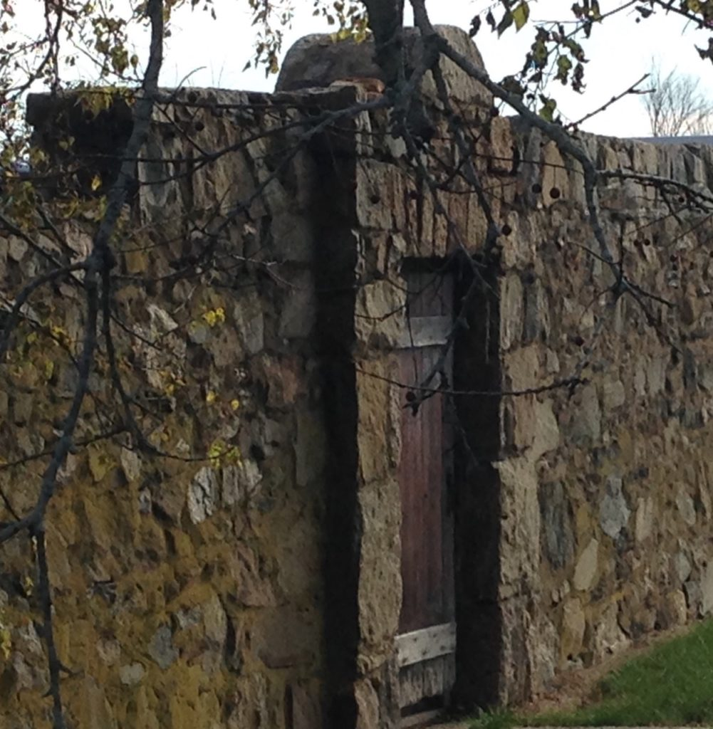 stone wall with door