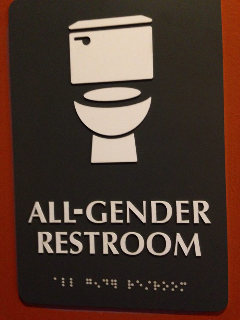 """all-gender restroom"" sign"