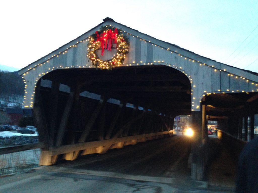 covered bridge w wreath and lights