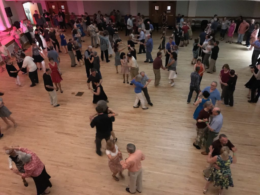 overhead view of swing dancing