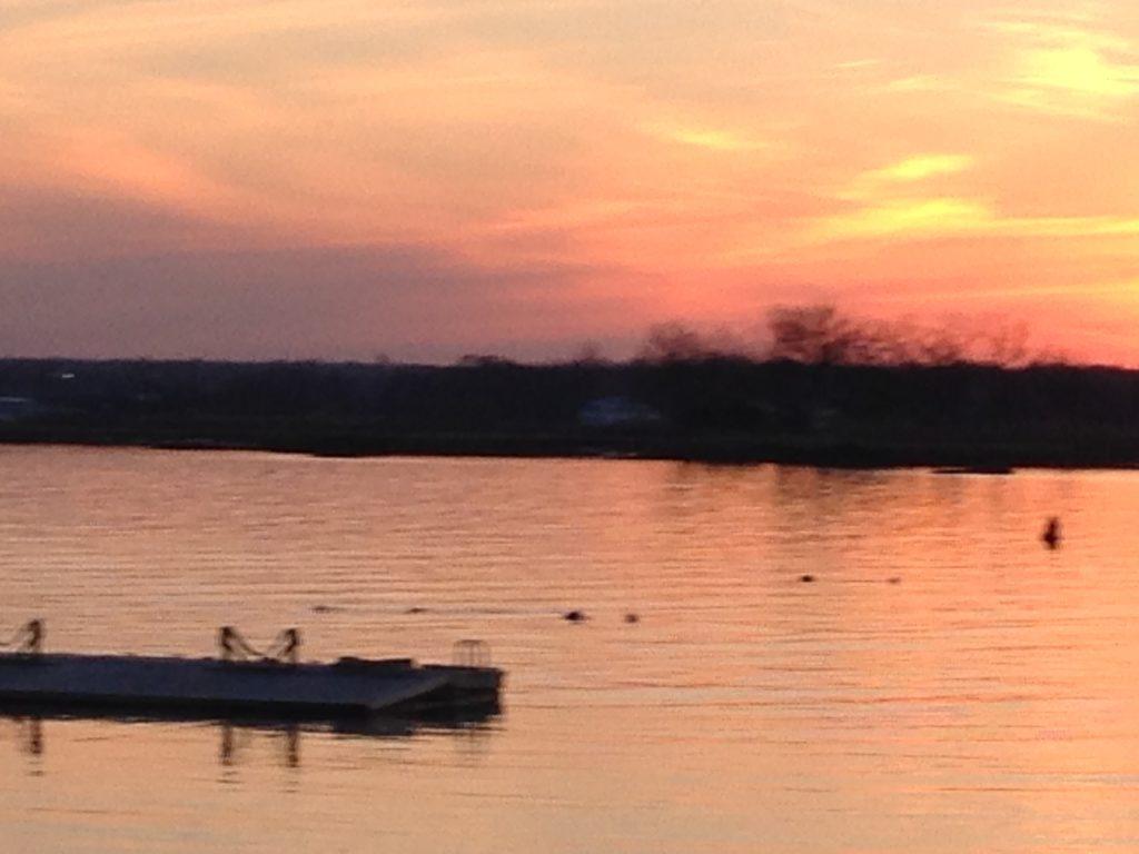 sunset, calm water, shore, dock