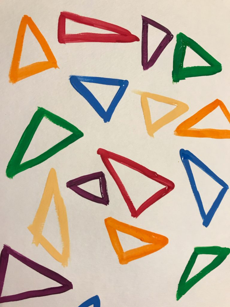 painted triangles, various colors and sizes