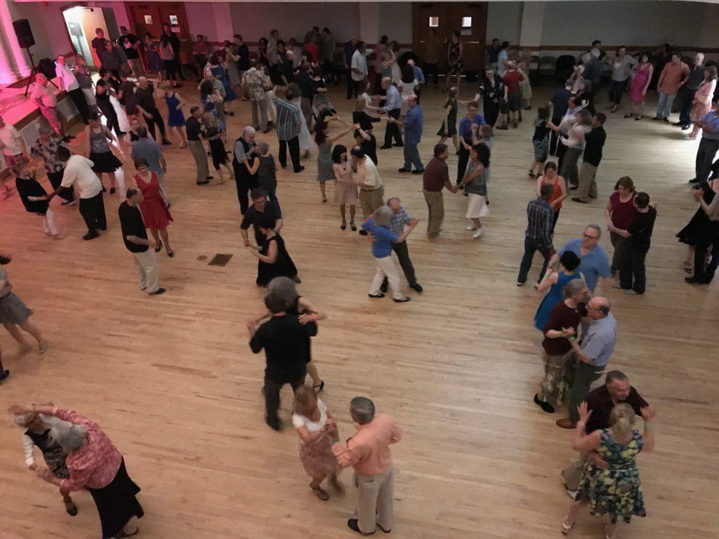 overhead view of swing dancing