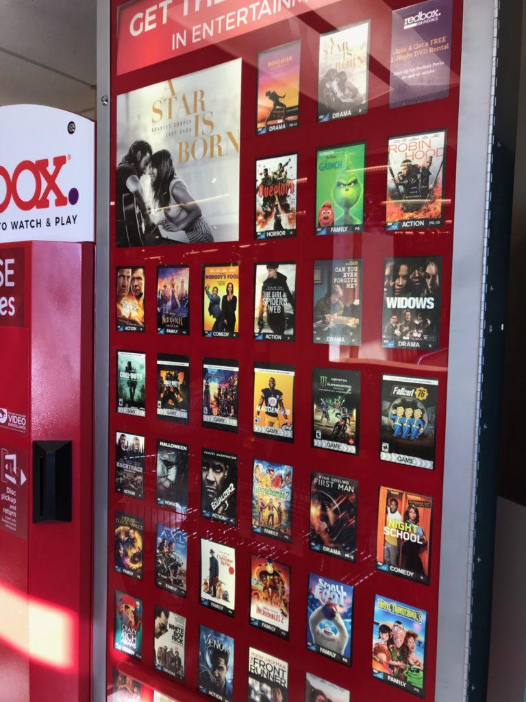 a Red Box DVD display